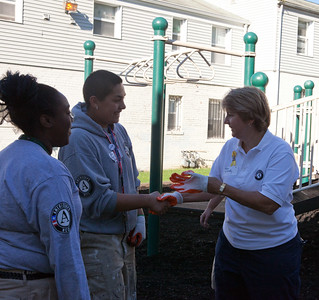 CNCS CEO, Wendy Spencer shaking hands with AmeriCorps members on 9/11 Day of Service and Remembrance. Corporation for National and Community Service Photo.