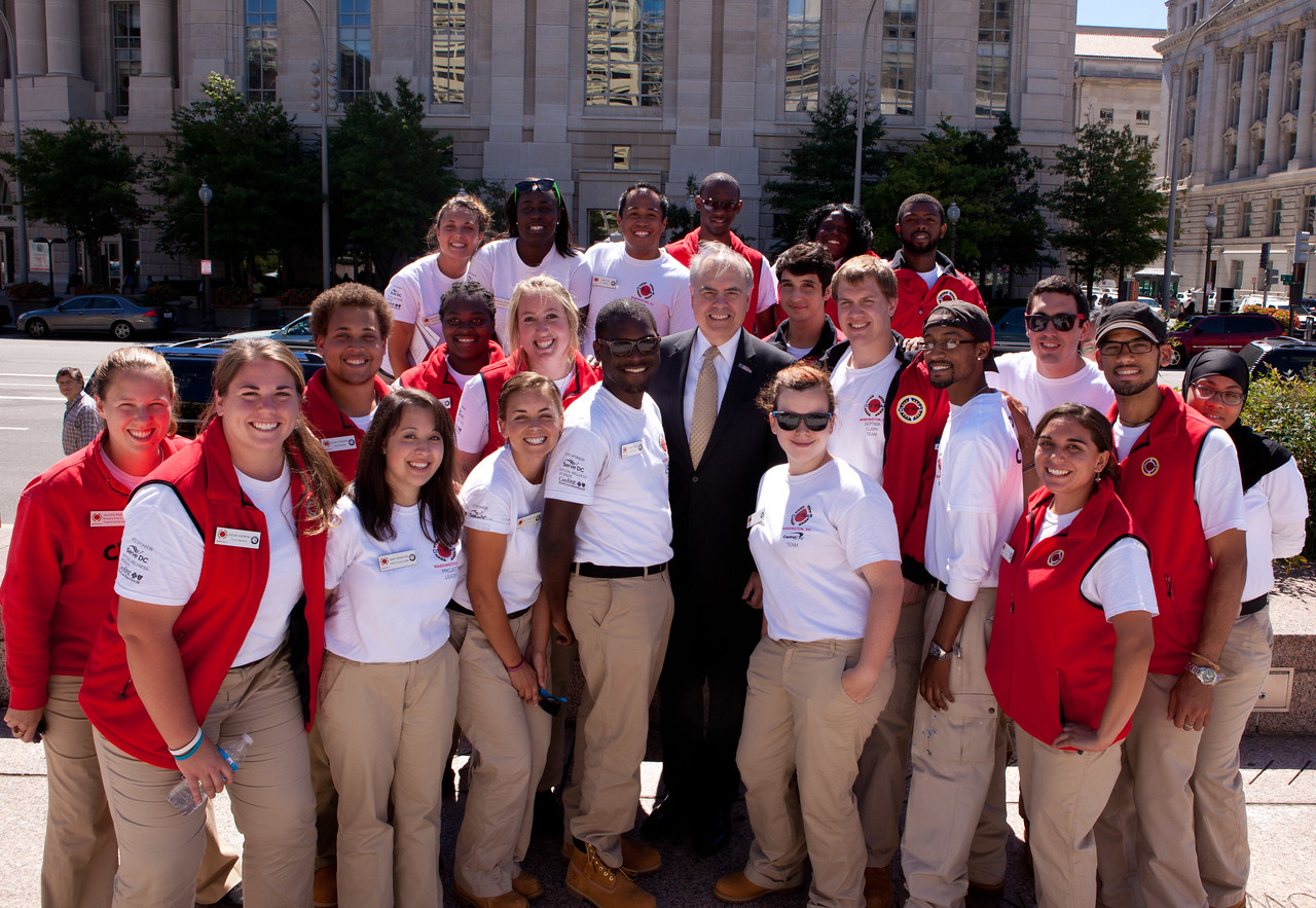 Director of AmeriCorps, Bill Basl with City Year members. Corporation for National and Community Service Photo.