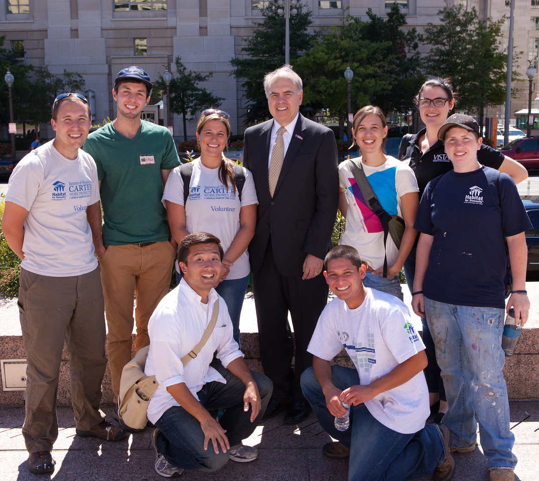 AmeriCorps members and Director of AmeriCorps, Bill Basl at 9/11 Day of Service and Remembrance at Freedom Plaza in Washington D.C. Corporation for National and Community Service Photo.