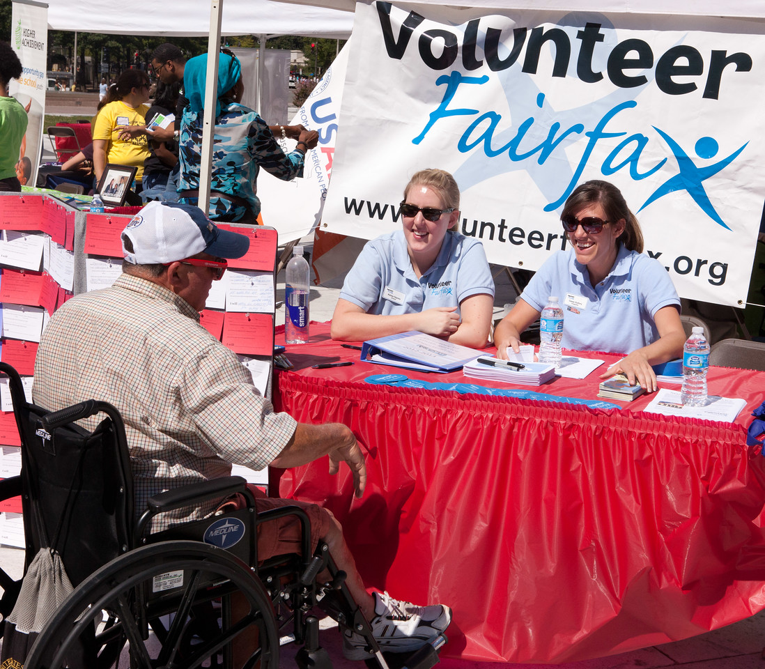 Volunteer Fairfax (Virginia) representatives discuss service opportunities during the 2012 9/11 Day of Service in Washington, DC. (Corporation for National and Community Service photo)