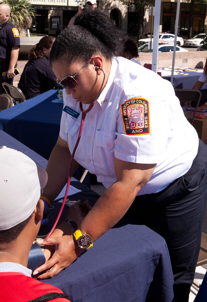 Washington, D.C. EMS taking a volunteers blood pressure at Freedom Plaza in Washington, D.C. Corporation for National and Community Service Photo.
