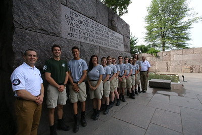 Director of AmeriCorps Bill Basl meets with AmeriCorps NCCC members during the 2nd Annual Day of Service in the Nation's Capital as part of national Great Outdoors Month led by the Corps Network at the FDR memorial. Corporation for National and Community Service Photo.