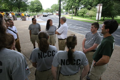 Director of AmeriCorps Bill Basl meets with AmeriCorps NCCC members during the 2nd Annual Day of Service in the Nation's Capital as part of national Great Outdoors Month led by the Corps Network. Corporation for National and Community Service Photo.