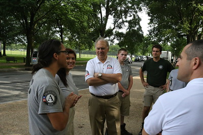 Director of AmeriCorps Bill Basl meets with AmeriCorps NCCC members from Philadelphia during the 2nd Annual Day of Service in the Nation's Capital as part of national Great Outdoors Month led by the Corps Network at the FDR memorial. Corporation for National and Community Service Photo.