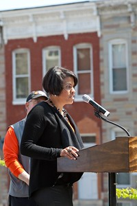Baltimore Mayor Stephanie Rawlings-Blake speaks at the Service Bowl in Baltimore, MD. Corporation for National and Community Service Photo.