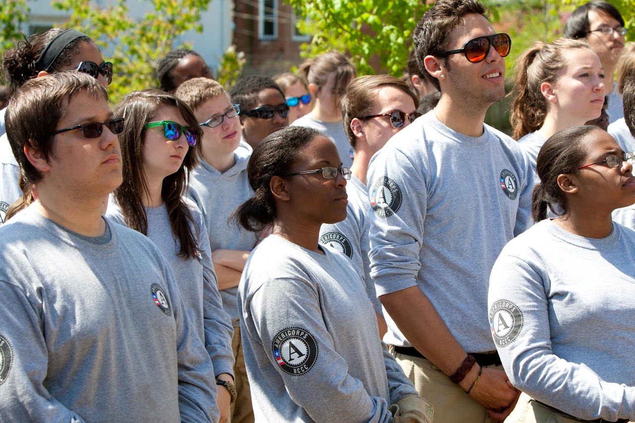 AmeriCorps members look on at the Service Bowl in Baltimore, MD. Corporation for National and Community Service Photo.
