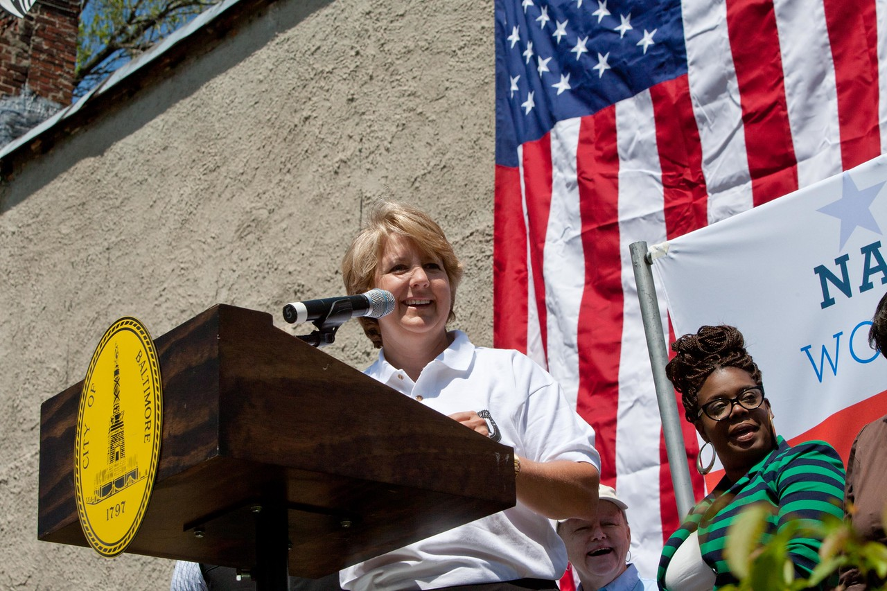 CNCS CEO Wendy Spencer speaks at the Service Bowl in Baltimore, MD. Corporation for National and Community Service Photo.