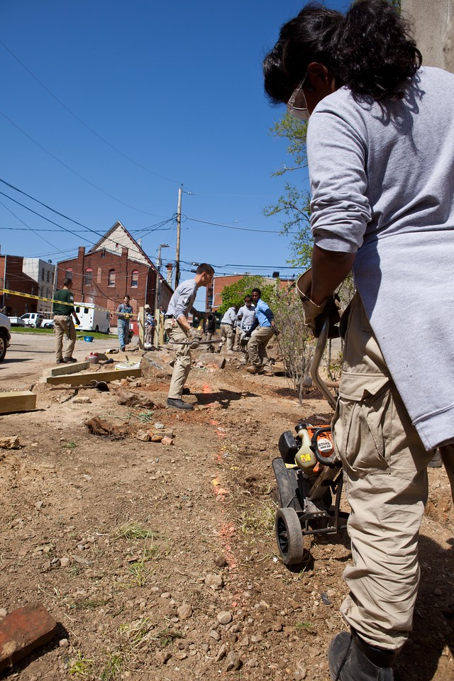 AmeriCorps members and community volunteers rehabilitate a vacant lot at the Service Bowl in Baltimore, MD. Corporation for National and Community Service Photo.
