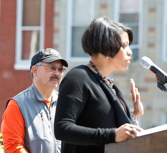 San Francisco Mayor Edwin M. Lee on stage, Baltimore Mayor Stephanie Rawlings-Blake speaks at the Service Bowl in Baltimore, MD. Corporation for National and Community Service Photo.
