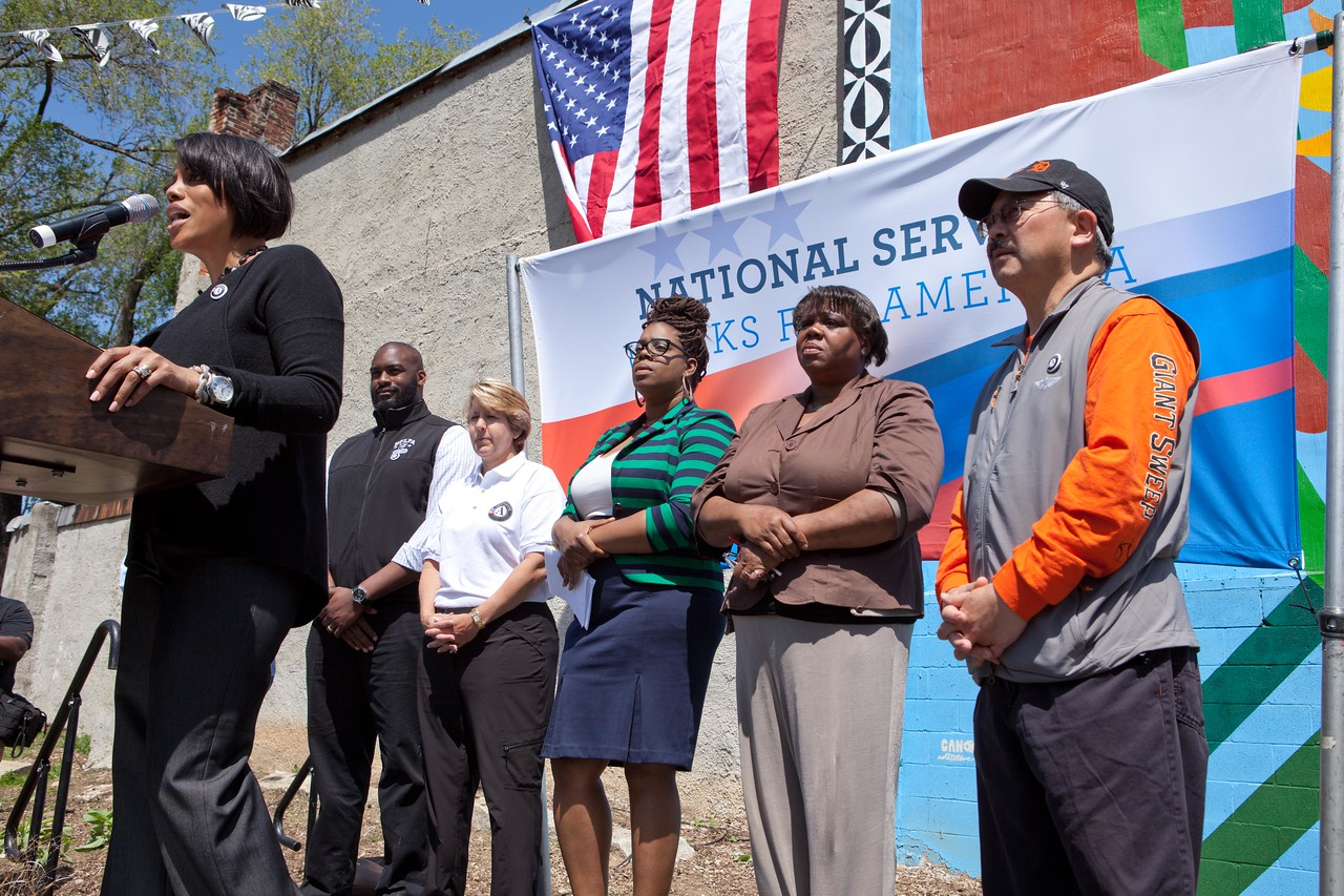 Baltimore Mayor Stephanie Rawlings-Blake addresses the crowd at the Service Bowl in Baltimore, MD. Corporation for National and Community Service Photo.