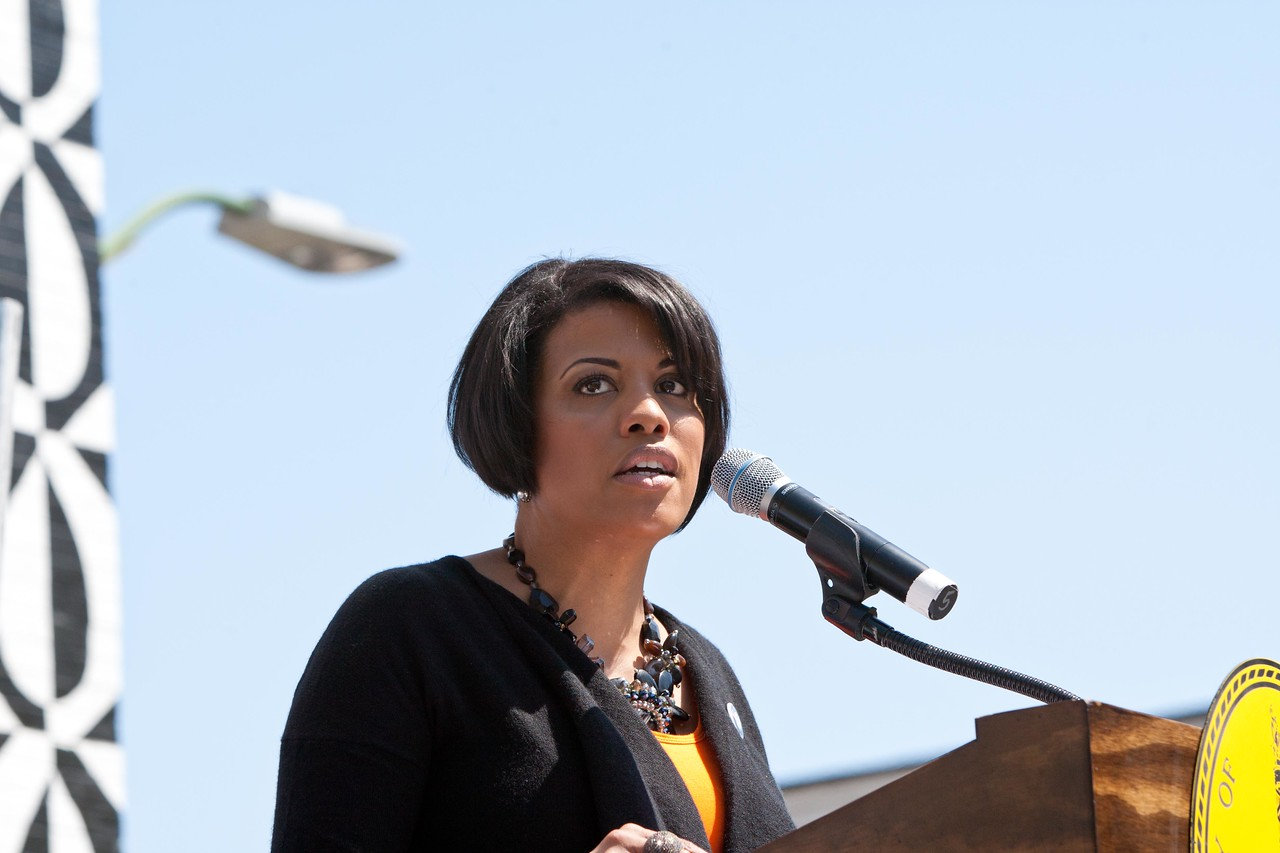 Mayor Stephanie Rawlings-Blake speaks at the Service Bowl in Baltimore, MD. Corporation for National and Community Service Photo.