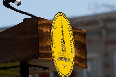 Seal of the City of Baltimore at the Service Bowl in Baltimore, MD. Corporation for National and Community Service Photo.