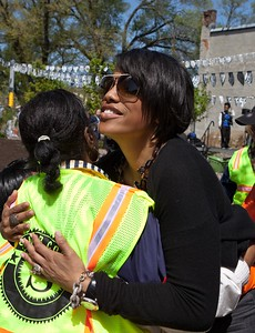 Baltimore Mayor Stephanie Rawlings-Blake hugs a Senior Corps member at the Service Bowl in Baltimore, MD. Corporation for National and Community Service Photo.