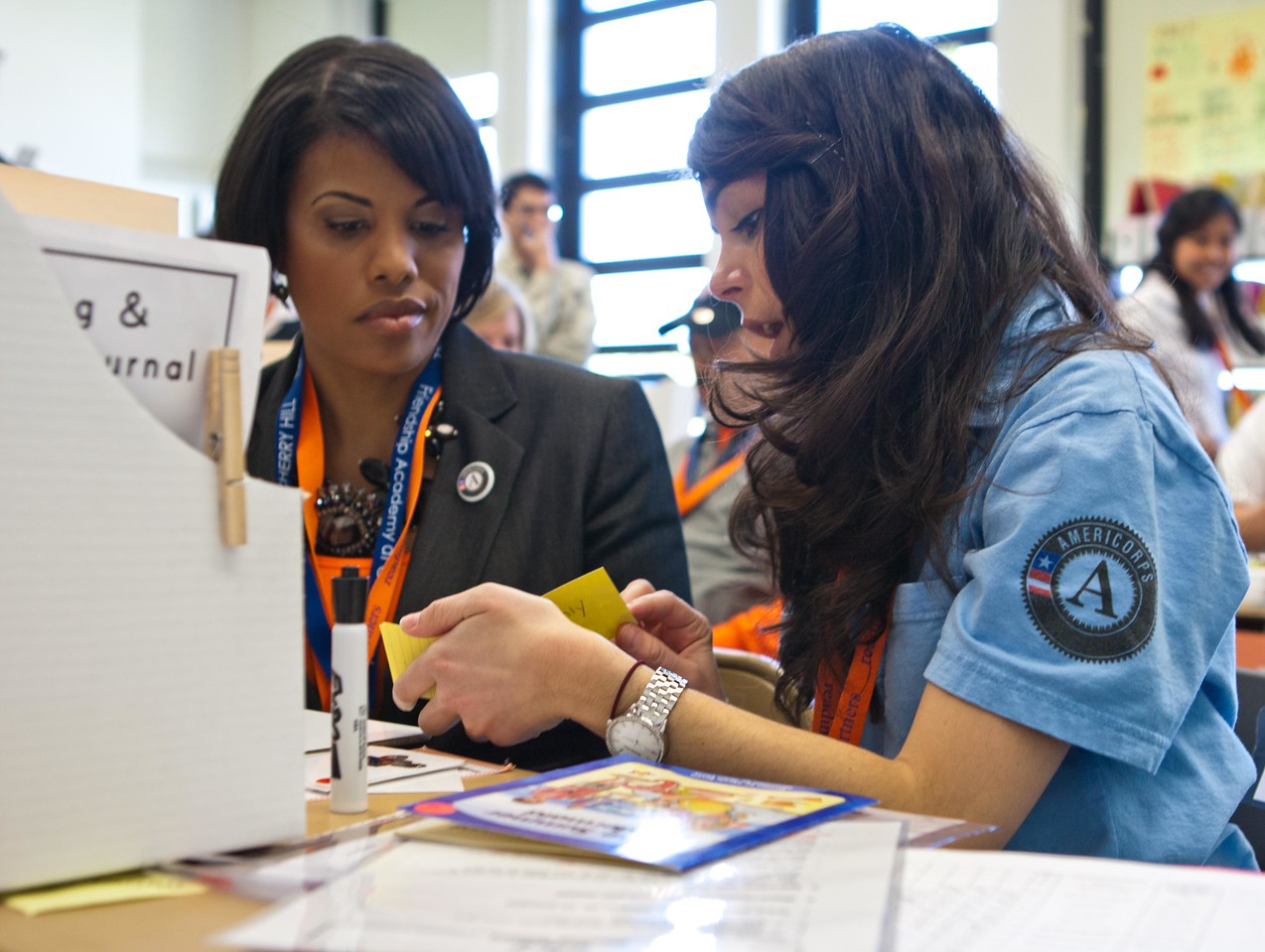 Baltimore Mayor Stephanie Rawlings-Blake serves alongside an AmeriCorps member at the Service Bowl in Baltimore, MD. Corporation for National and Community Service Photo.