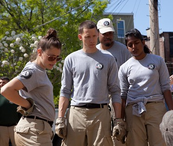 AmeriCorps members rehabilitate a vacant lot at the Service Bowl in Baltimore, MD. Corporation for National and Community Service Photo.