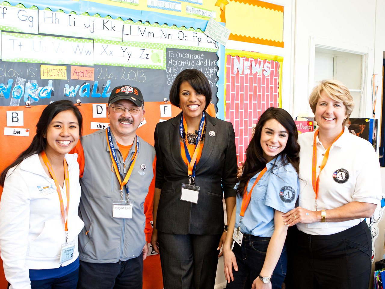 San Francisco Mayor Edwin M. Lee, Baltimore Mayor Stephanie Rawlings-Blake, and CNCS CEO Wendy Spencer spend time with AmeriCorps members at the Service Bowl in Baltimore, MD. Corporation for National and Community Service Photo.