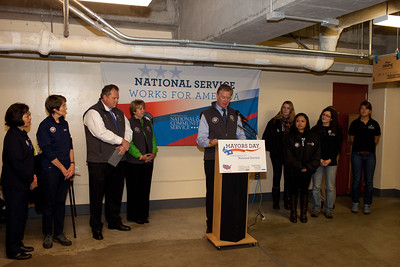 Mayor Christopher B. Coleman, of St. Paul,  speaks at at Pike Place Food Bank in Seattle, WA for the launch of Mayors Day of Recognition for National Service.Minn. Corporation for National and Community Service Photo.