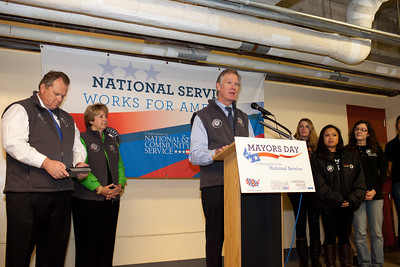 Mayor Christopher B. Coleman, of St. Paul, Minn.  speaks at Pike Place Food Bank in Seattle, WA for the launch of Mayors Day of Recognition for National Service. Corporation for National and Community Service Photo.