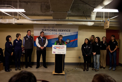 CEO, CNCS, Wendy Spencer speaks at at Pike Place Food Bank in Seattle, WA for the launch of Mayors Day of Recognition for National Service. Corporation for National and Community Service Photo.