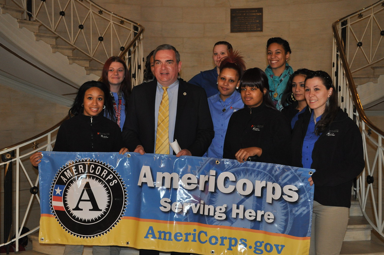Mayor Gary McCarthy (Schenectady, NY) participating in the Mayors Day of Recognition for National Service alongside national service members on April 1, 2014. Corporation for National and Community Service Photo.