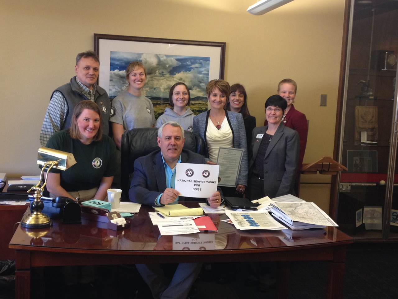 Mayor David Bieter (Boise, ID) alongside national service participants and staff, including Kristen Tracy, President of the National Association of Foster Grandparent Project Directors.   Mayor Bieter issued a mayoral proclamation in honor of the Mayors Day of Recognition for National Service on April 1, 2014. Corporation for National and Community Service photo.