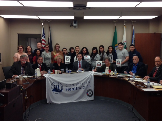 National service members participating in Mayors Day of Recognition for National Service in Yakima City, WA on April 1, 2014. Corporation for National and Community Service Photo.
