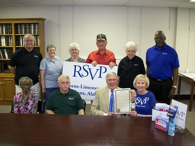 Mayor William (Ronnie) Marks (Athens, AL), alongside Senior Corps RSVP volunteers and staff, including Betty Ruth, President of the National Association of RSVP Program Directors.  Mayor Marks   issued a proclamation in honor of the Mayors Day of Recognition for National Service on April 1, 2014. Corporation for National and Community Service Photo.
