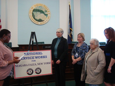 National service members are witness to a proclamation  - proclaiming Niagra Falls, NY April 1, 2014 - Mayors Day of Recognition for National Service. Corporation for National and Community Service Photo.