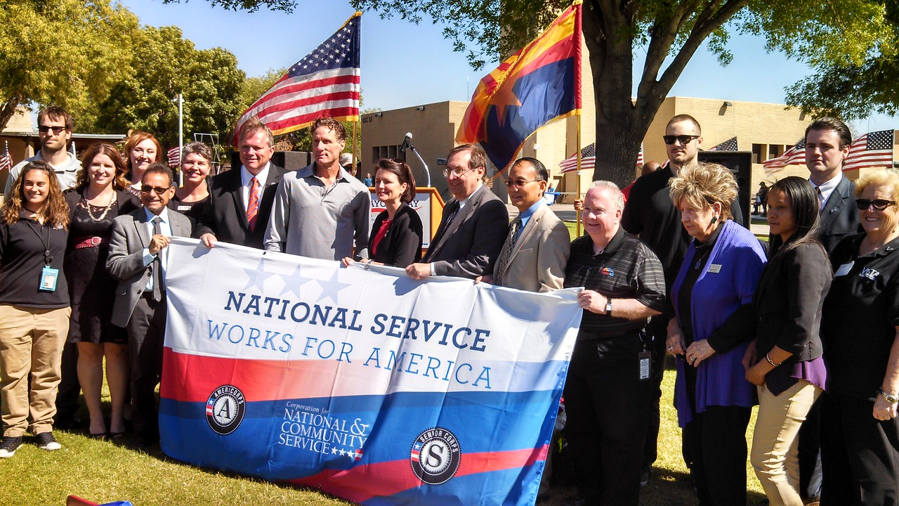 National service members and Mayor Smith participating in Mayors Day of Recognition for National Service in Mesa, AZ  on April 1, 2014. Corporation for National and Community Service Photo.