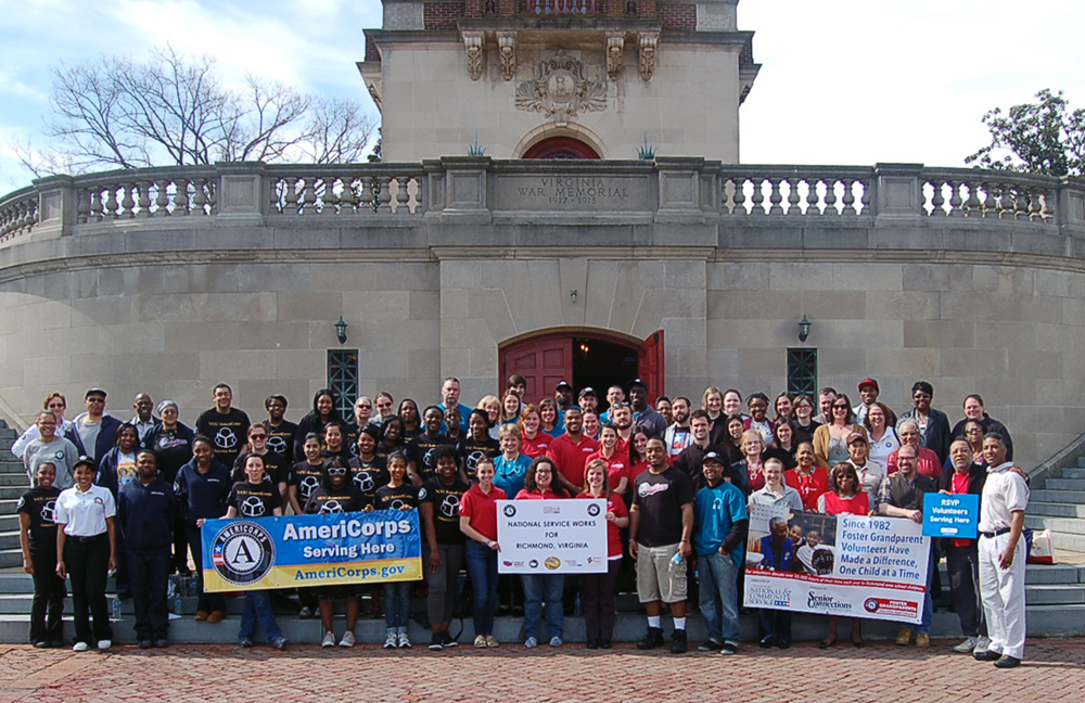 Senior Corps members and AmeriCorps members participate in the Mayors Day of Recognition for National Service in Richmond, VA on April 1, 2014. Corporation for National and Community Service Photo.