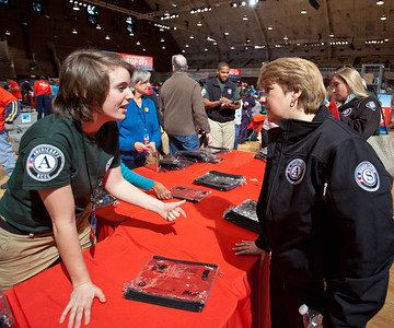 An AmeriCorps NCCC member speaks with Corporation for National and Community Service CEO Wendy Spencer during the National Day of Service and MLK Day of Service event at the D.C. Armory on Jan. 19, 2013. (Corporation for National and Community Service Photo)