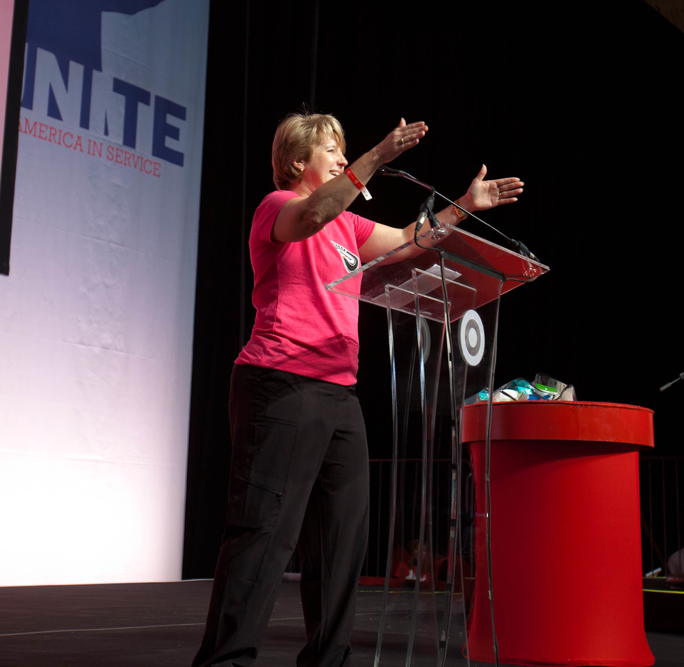 CNCS CEO Wendy Spencer energizes volunteers. DC Armory - National Day of Service - MLK Day 2013.Corporation for National and Community Service Photo.