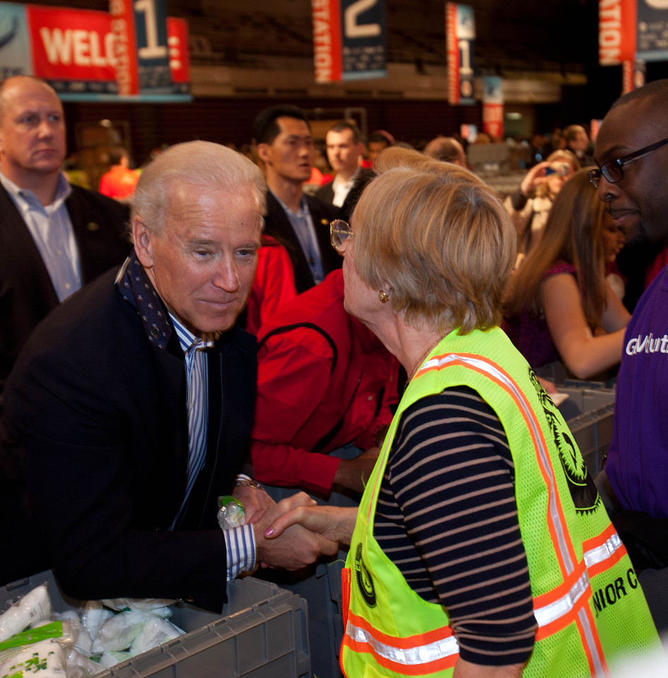 Vice President Joe Biden greets a Senior Corps volunteer during the National Day of Service and MLK Day of Service event at the D.C. Armory on Jan. 19, 2013. (Corporation for National and Community Service Photo)