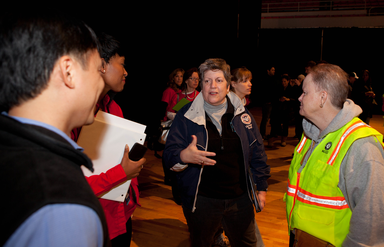 Senior Corps Director Dr. Erwin Tan, AmeriCorps NCCC Director Kate Raftery, Secretary of Homeland Security Janet Napolitano, and President of Community Relations at the Target Foundation Laysha L. Ward. DC Armory - National Day of Service - MLK Day 2013.Corporation for National and Community Service Photo.