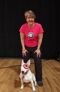 "CNCS CEO Wendy Spencer and ""Bullseye"". DC Armory - National Day of Service - MLK Day 2013.Corporation for National and Community Service Photo."