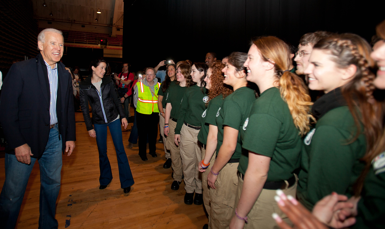 Vice President Joe Biden speaks with AmeriCorps NCCC members. DC Armory - National Day of Service - MLK Day 2013.Corporation for National and Community Service Photo.