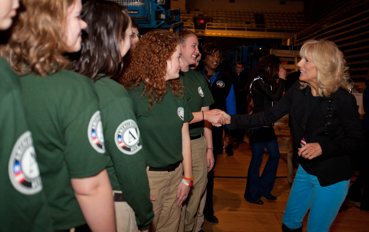 Dr. Jill Biden greets members of AmeriCorps NCCC. DC Armory - National Day of Service - MLK Day 2013.Corporation for National and Community Service Photo.