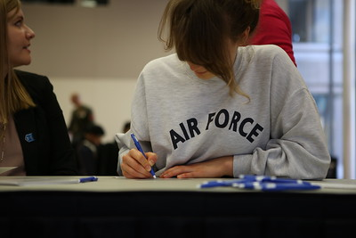 George Washington University sponsored Veterans Day service project - GW midshipmen ROTC writing letters for service men and women abroad. Corporation for National and Community Service Photo.