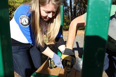 AmeriCorps member Rachel LaCroix serving during Veterans Day in Washington, D.C. Corporation for National and Community Service Photo.