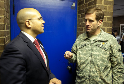 CNCS, Senior Advisor for Wounded Warriors, Veterans and Military Families, Koby Langley speaks with Attorney General Beau Biden (DE). Corporation for National and Community Service Photo.