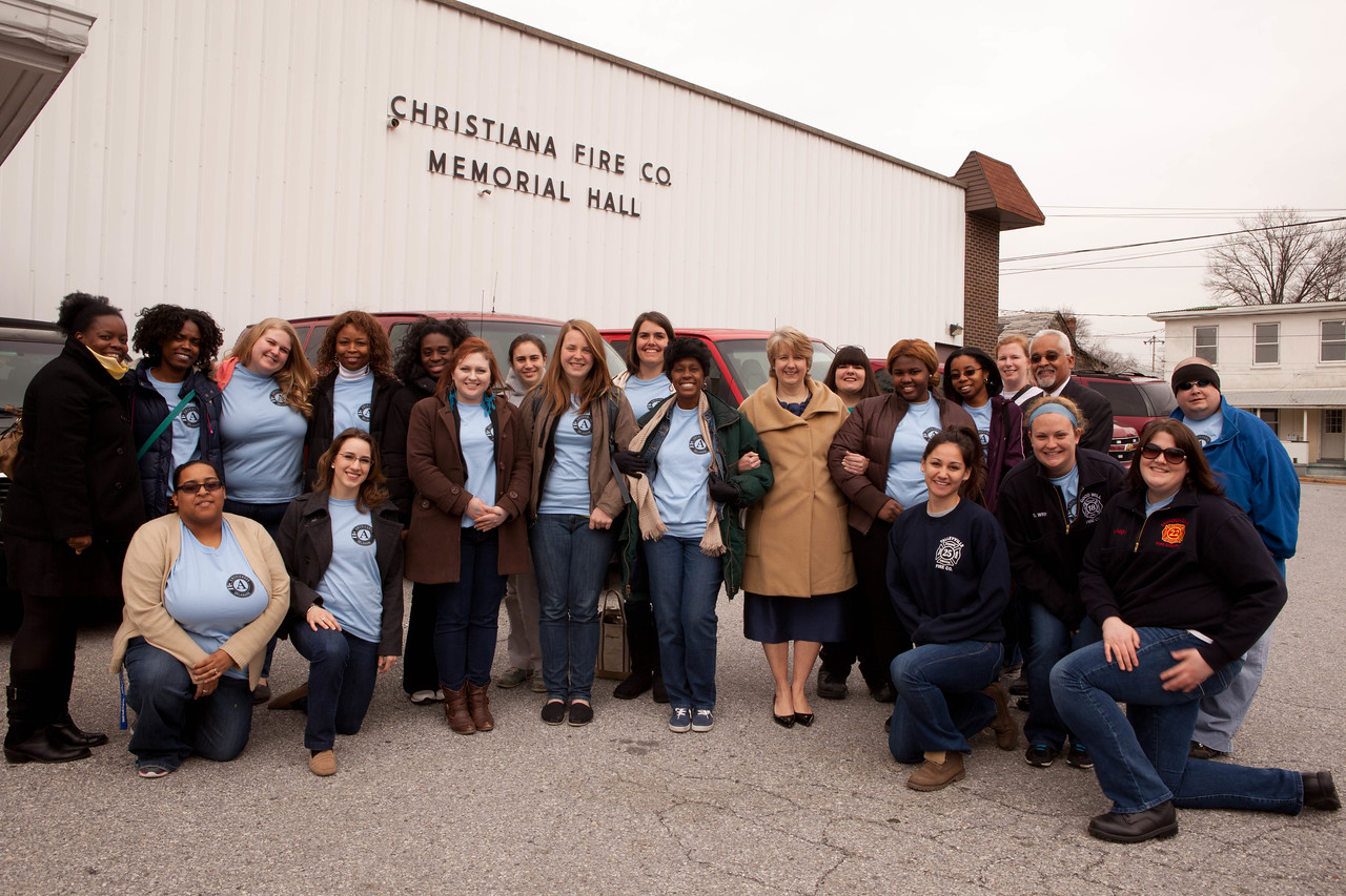 CNCS, CEO, Wendy Spencer meets with AmeriCorps members at the Christiana, DE fire department. Corporation for National and Community Service Photo.