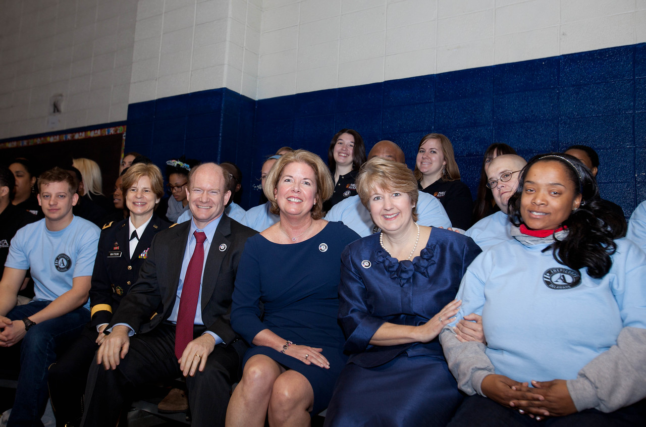 Brig. Gen. Marianne E. Watson, National Guard Bureau Director of Manpower and Personnel, Sen. Chris Coons (DE), Delwaware's First Lady Carla Markell, CNCS, CEO, Wendy Spencer. Corporation for National and Community Service Photo.