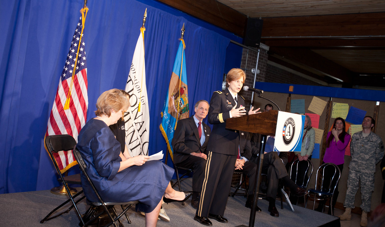 Brig. Gen. Marianne E. Watson, National Guard Bureau Director of Manpower and Personnel speaking at the announcement. Corporation for National and Community Service Photo.