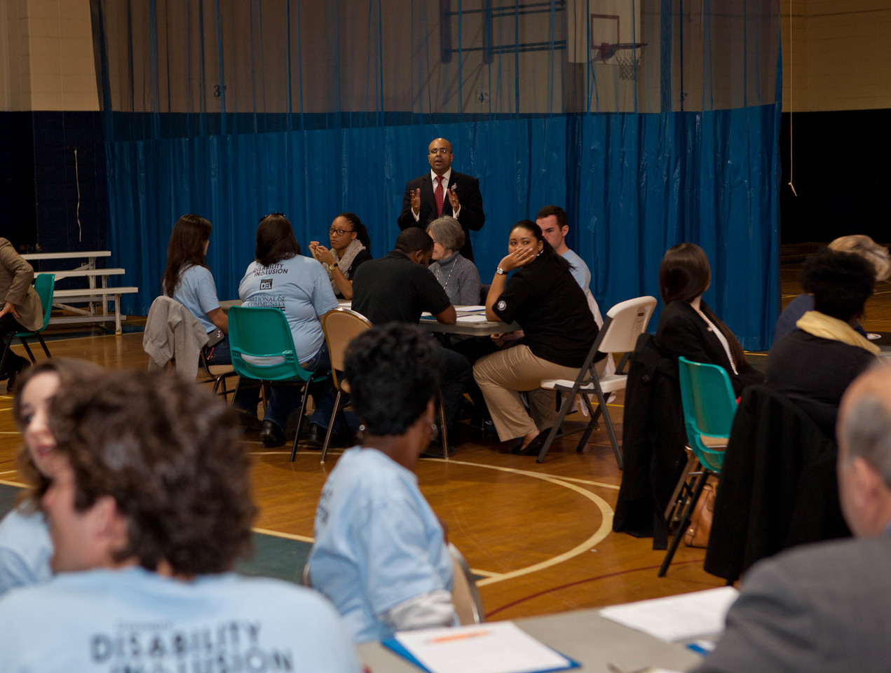 Koby Langley, Senior Advisor for Wounded Warriors, Veterans and Military Families at CNCS leads breakout sessions at the Boy and Girls Club in Wilmington, DE. Corporation for National and Community Service Photo.