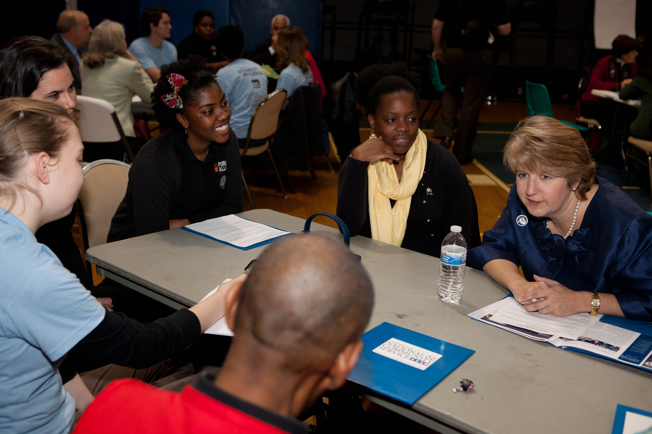 CNCS, CEO, Wendy Spencer listens during breakout meetings at the Boys and Girls Club in Wilmington, DE. Corporation for National and Community Service Photo.