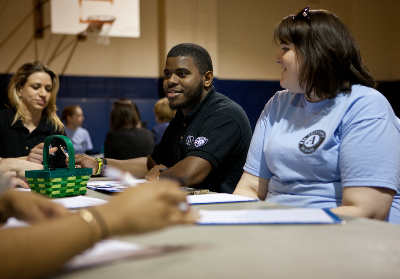 AmeriCorps members participate in breakout meetings at the Boys and Girls Club in Wilmington, DE. Corporation for National and Community Service Photo.