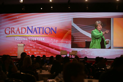 CNCS CEO Wendy Spencer speaks at the 2014 GradNation. Corporation for National and Community Service Photo.
