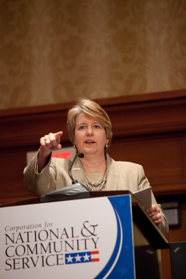 CNCS CEO Wendy Spencer speaks at the 2014 Education Symposium. Corporation for National and Community Service Photo.