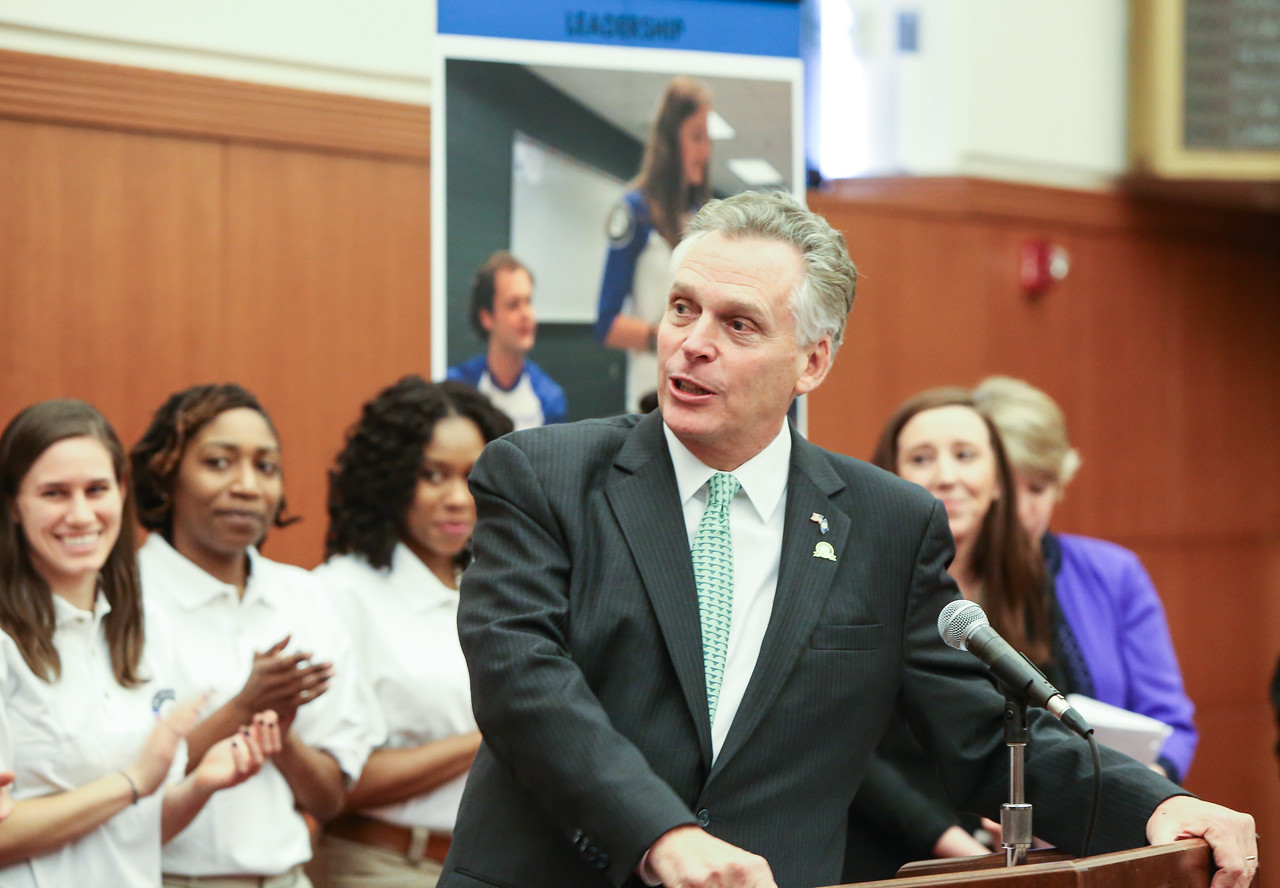 Governor Terry McAuliffe (VA) at the Employers for National Service press conference in Richmond, VA. Corporation for National and Community Service Photo.