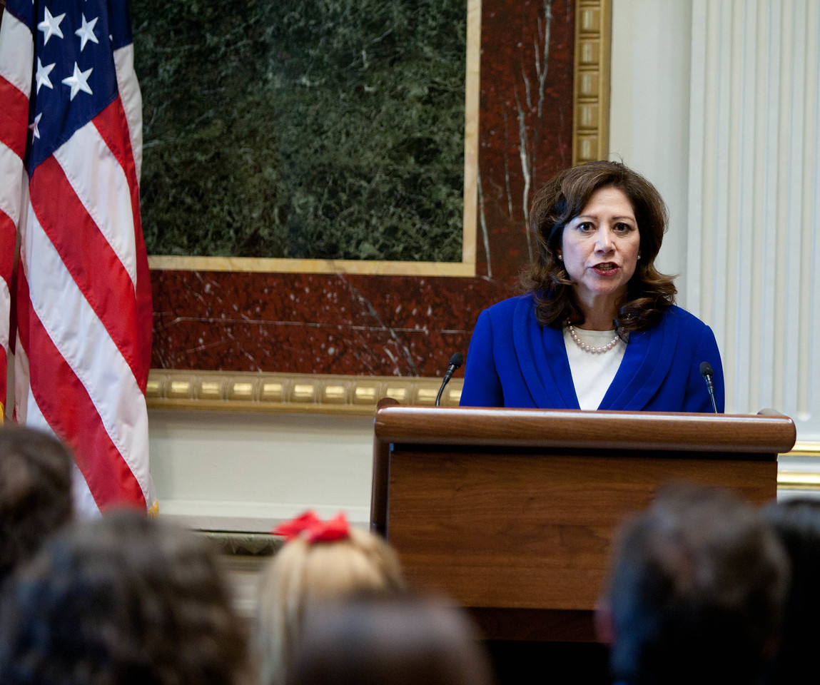 United States Secretary of Labor Hilda L. Solis. White House Convening on Expanding Opportunity Through Volunteering held in the Indian Treaty Room, Eisenhower Executive Office Buiding on Thursday April 19, 2012. Corporation for National and Community Service Photo.